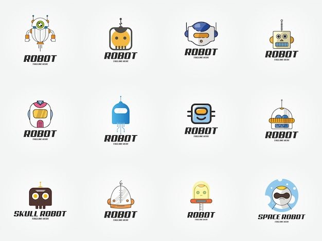 Smart technology robot logo design modelo ícone
