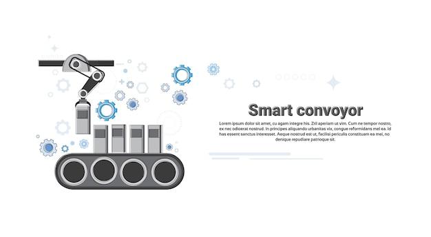 Smart transportadora industrial automação indústria produção web banner linha fina ilustração vetor