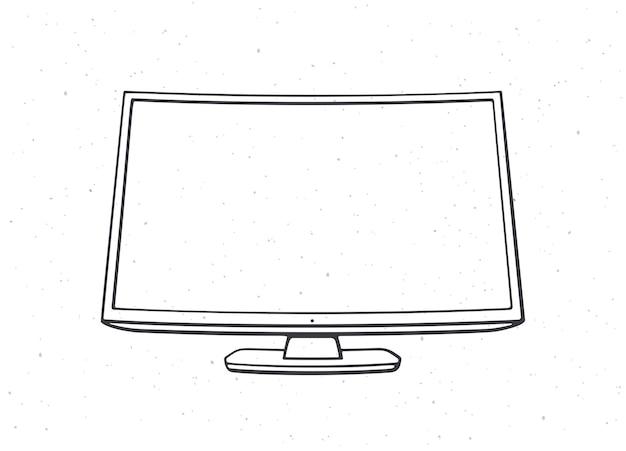 Smart tv digital moderna com tela full ultra hd ilustração em vetor de contorno