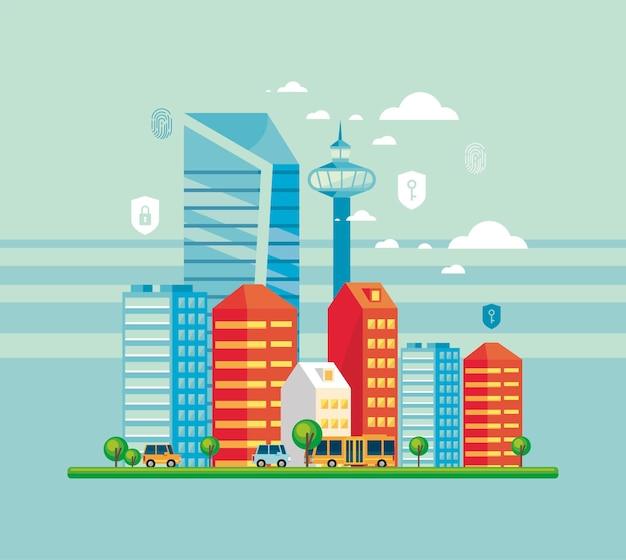Smartcity com itens de segurança