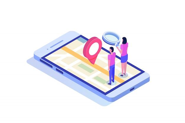 Smartphone 3d isométrico com aplicação móvel gps. ilustração.
