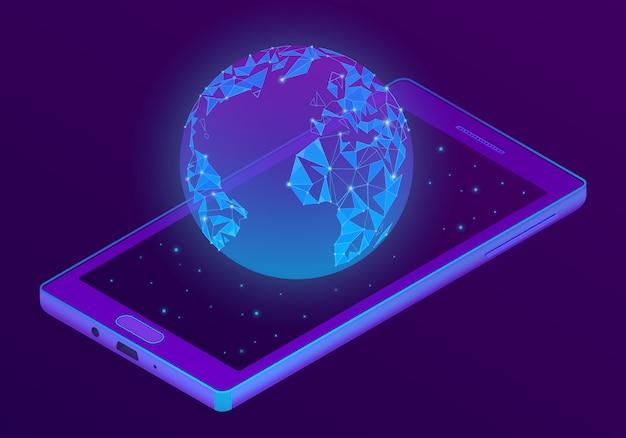 Smartphone 3d isométrico com holograma do mundo