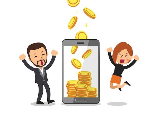 Smartphone ajuda pessoas de negócios para ganhar dinheiro