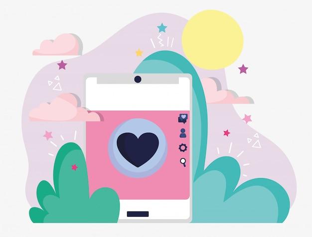 Smartphone amor botão romântico mídias sociais