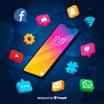 Smartphone antigravidade com elementos