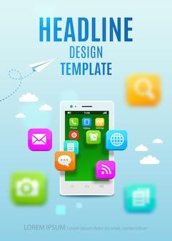 Smartphone branco com nuvem de ícones coloridos de aplicação.