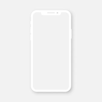Smartphone branco com tela transparente em branco