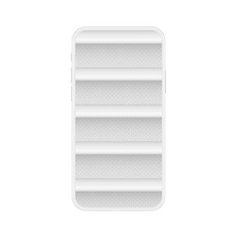 Smartphone branco macio com prateleiras vazias para loja online