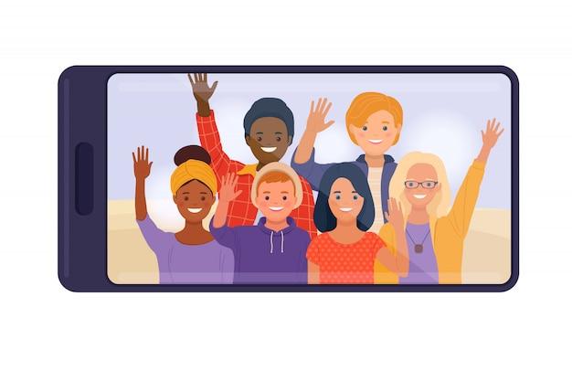 Smartphone com amigos adolescentes, exibindo na tela