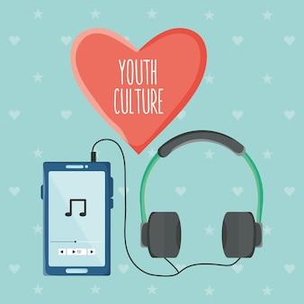 Smartphone com aplicação de leitor de música e fones de ouvido