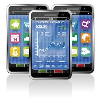 Smartphone com aplicação no mercado de ações