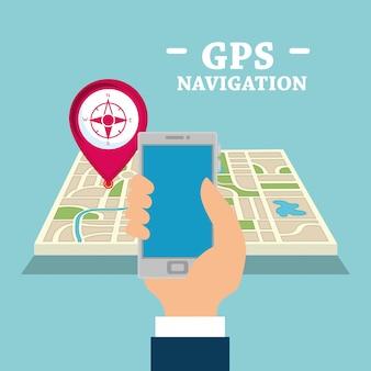 Smartphone com aplicativo de navegação por gps