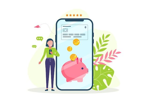 Smartphone com aplicativo de programa de recompensas. receba e acumule bônus.