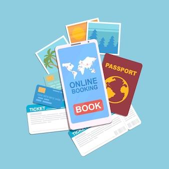 Smartphone com aplicativo de reserva on-line e ícone do mundo na tela