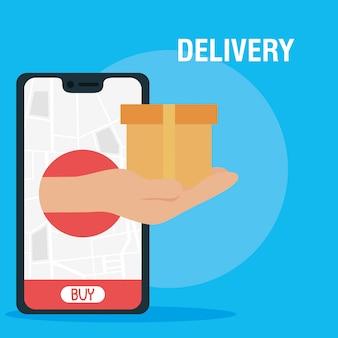Smartphone com aplicativo de serviço de entrega