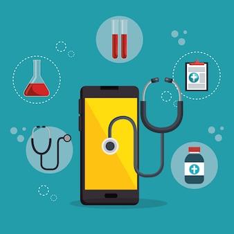 Smartphone com aplicativo de serviços médicos
