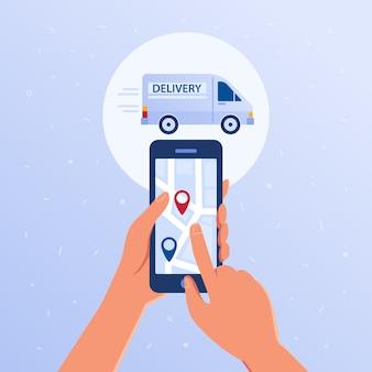Smartphone com aplicativo rastreador de rastreio de pacote aberto.