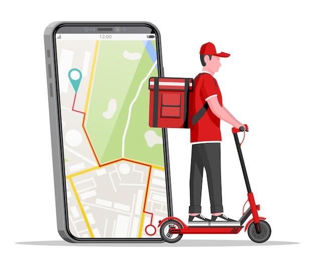 Smartphone com app e homem andando de scooter elétrico com caixa. conceito de entrega rápida na cidade. correio masculino com caixa de encomendas nas costas com mercadorias e produtos. ilustração em vetor plana dos desenhos animados