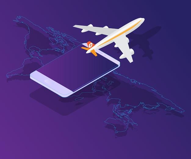 Smartphone com avião no vetor de mapa mundo isométrico