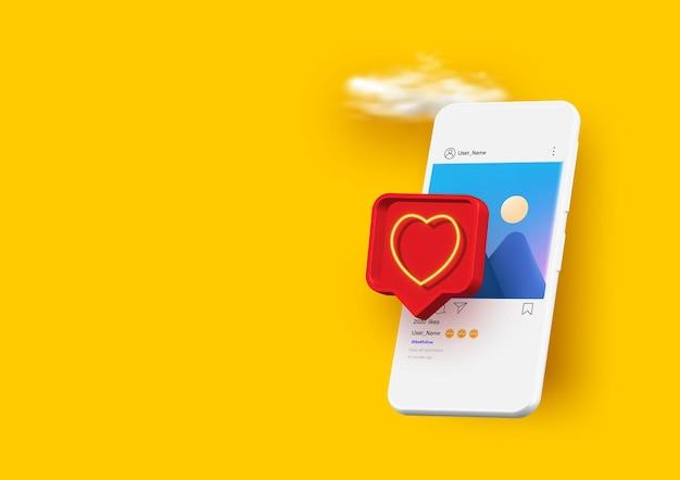 Smartphone com balão de fala emoji de coração recebe mensagem na tela. rede social e conceito de dispositivo móvel.