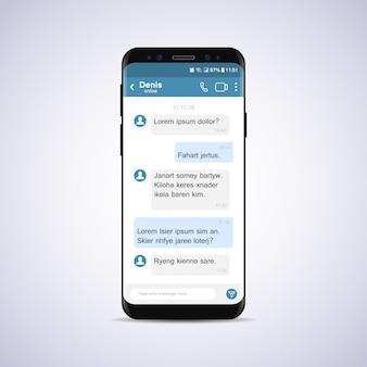 Smartphone com bate-papo da rede social.