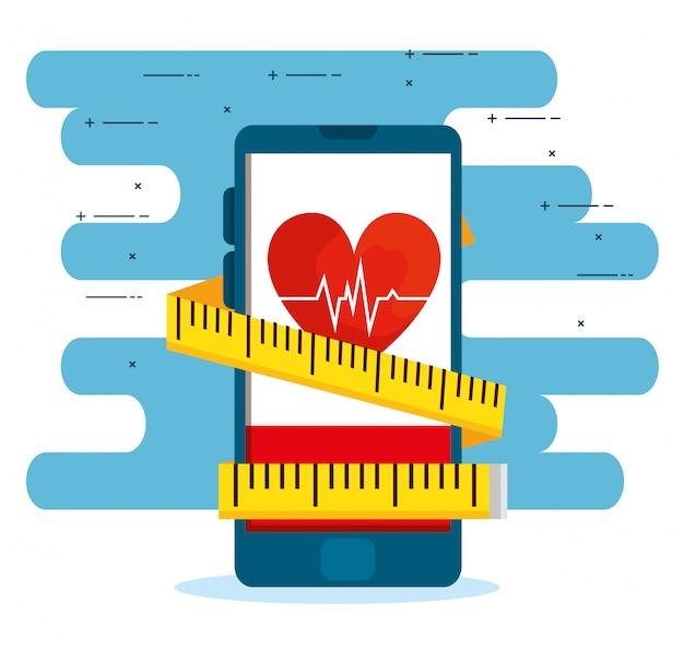 Smartphone com batimentos cardíacos e fita métrica para equilibrar