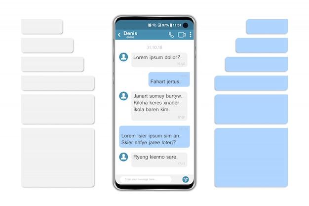Smartphone com bolhas de bate-papo e discurso de rede social.