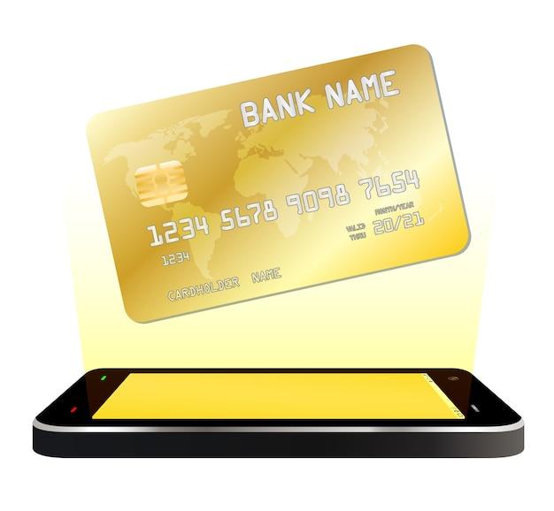 Smartphone com cartão de crédito flutuante