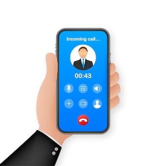 Smartphone com chamada recebida no visor. chamada recebida. ilustração.