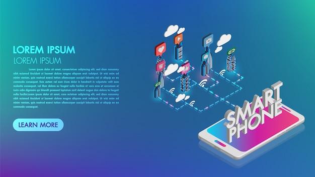 Smartphone com cidade inteligente com serviços inteligentes. realidade aumentada e tecnologia