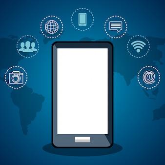 Smartphone com comunicação na internet