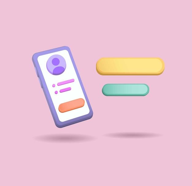 Smartphone com conceito de chat ballon