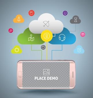Smartphone com conceito de computação em nuvem.