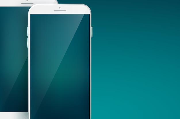 Smartphone com conceito de design moderno definido com dois celulares brancos com sombras nos grandes espaços em branco e interfaces touchscreen no azul