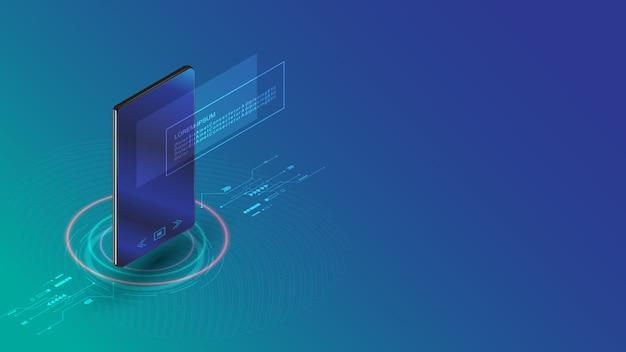 Smartphone com conceito futurista de informações de tecnologia de holograma de tela digital