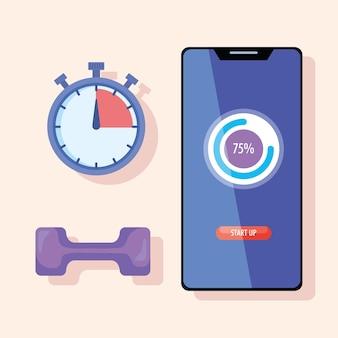 Smartphone com cronômetro e haltere fitness estilo de vida definir ícones de design de ilustração