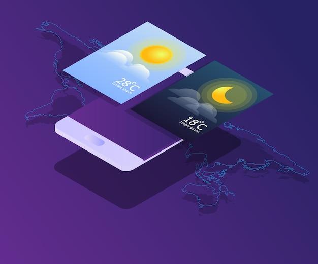 Smartphone com dia e noite widgets