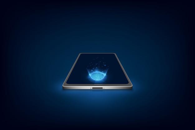Smartphone com digitalização de dedo, vetor