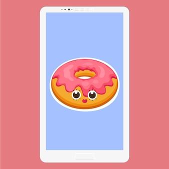 Smartphone com donut em estilo cartoon plana. plano de fundo de donut com rosto divertido de personagens de emoticons de sobremesa esmalte rosa na tela. vector a ilustração eps 10 para seu projeto.