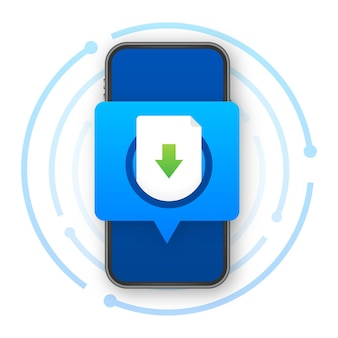 Smartphone com download de arquivo. baixando o conceito de processo. ilustração vetorial.