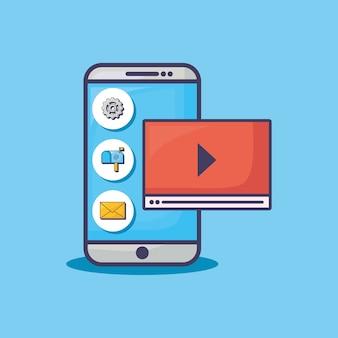 Smartphone com e-mail marketing relacionados com ícones