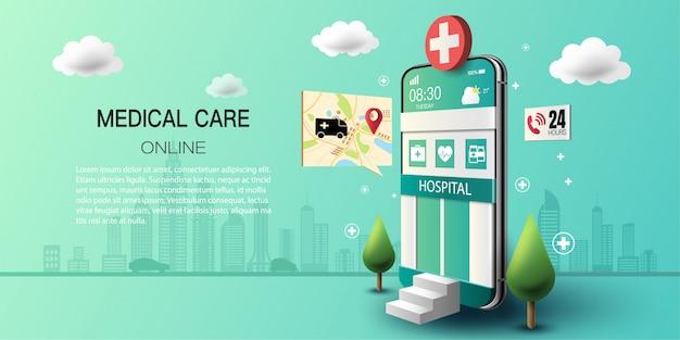 Smartphone com edifício hospitalar na tela, consulta médica on-line com chamada de emergência 24 horas.