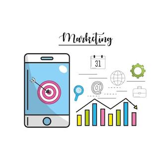 Smartphone com estatística e alvo com ícone de tecnologia