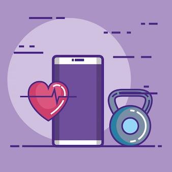 Smartphone com fitness e ícones de estilo de vida saudável