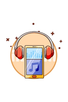 Smartphone com fone de ouvido icon music ilustração dos desenhos animados