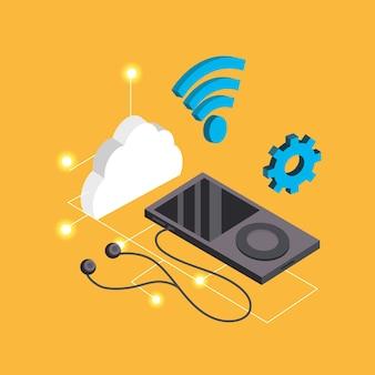 Smartphone com fones de ouvido e serviço conectar