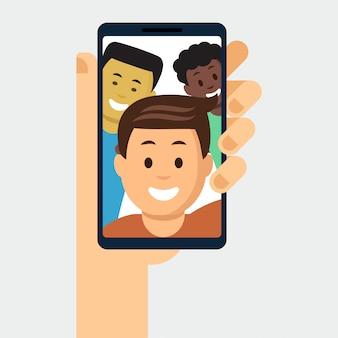 Smartphone com foto de amigos em exposição