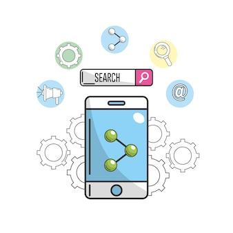 Smartphone com ícone de compartilhamento para informações da empresa