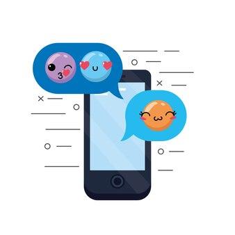 Smartphone com ícone de design de emoji de mensagem