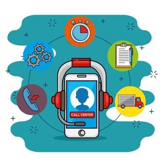 Smartphone com ícones ao redor, indústria de camiões